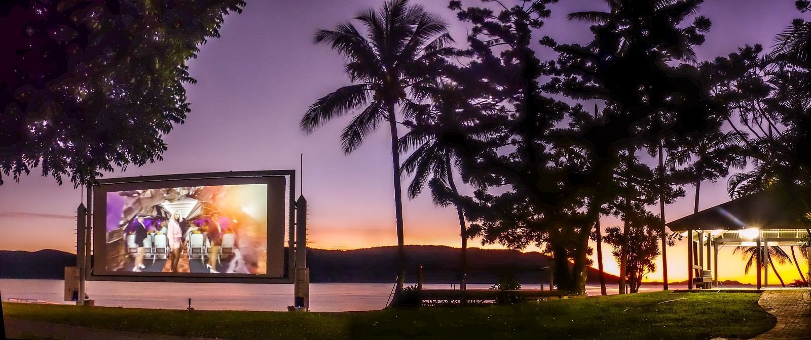 Video screen placed on beach at Daydream Island Resort