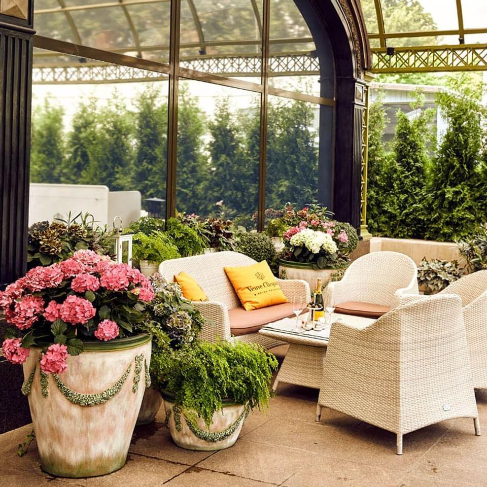 Relaxing garden at Intercontinental Kyiv hotel