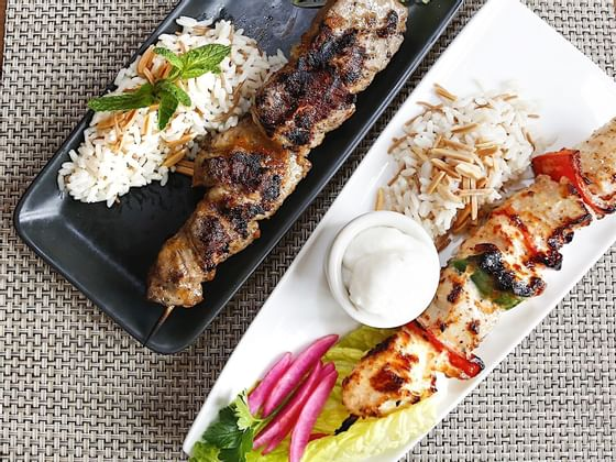 Kebab and rice served at the FIGS Restaurant in Hotel Jackson