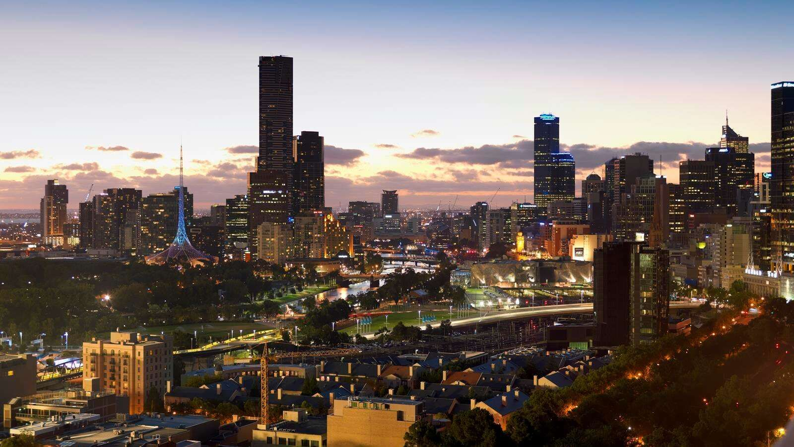view of city from rooftop at Pullman Melbourne on the park