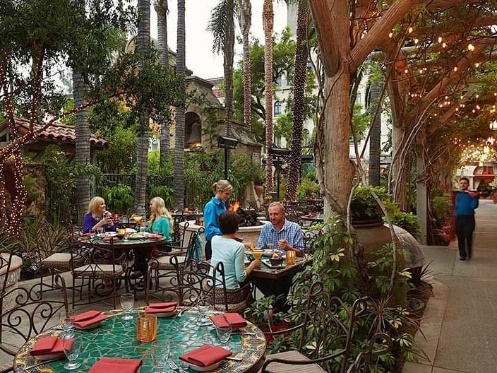 several people dining outdoor