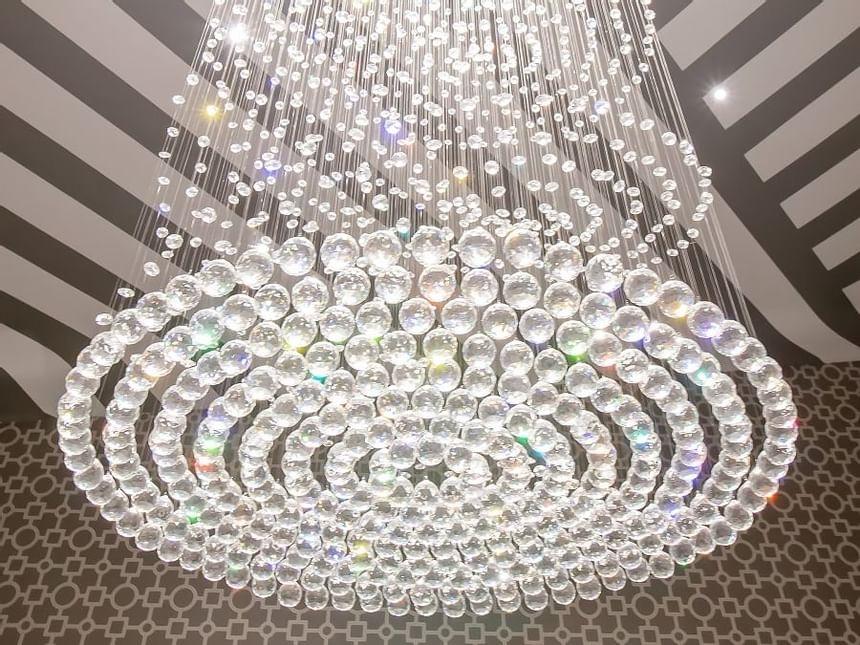 swarovski crystal chandelier hanging down presidential suite