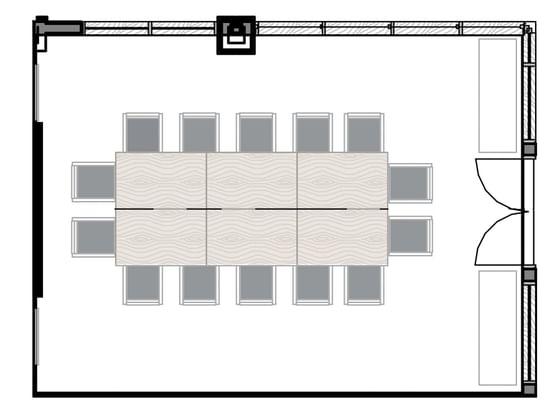 Floor plan of the Deloney Meeting Room at Hotel Jackson