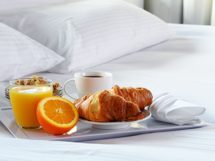 Closeup on Breakfast in bed at Avon Old Farms Hotel