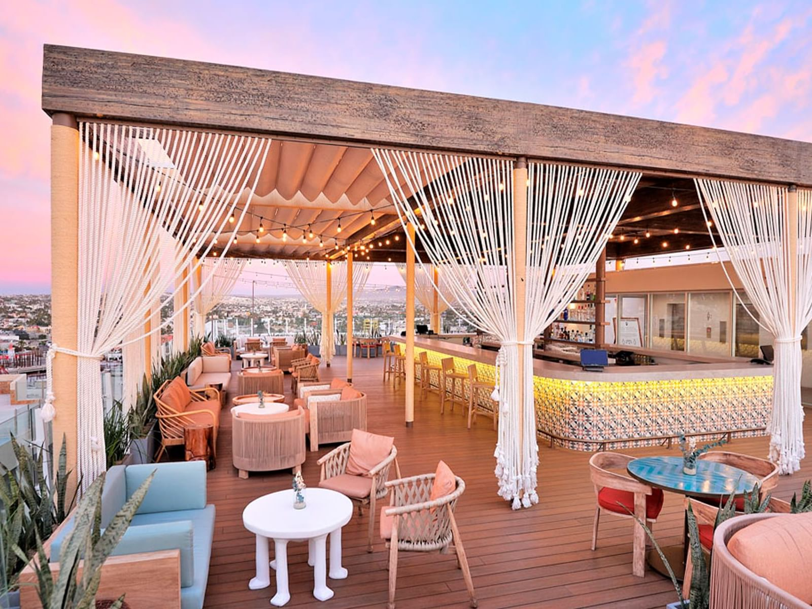 Seating area in Rooftop 360 at Cabo Villas Beach Resort