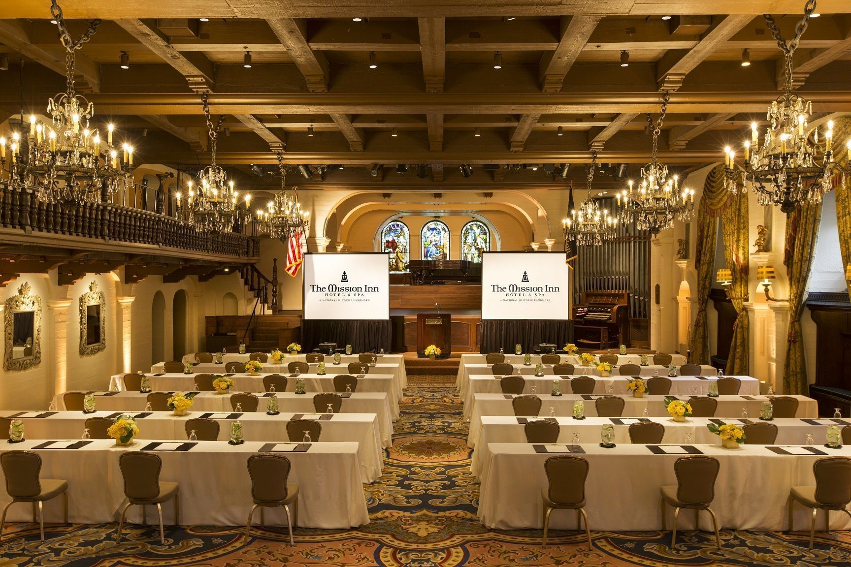 ballroom with conference table set up