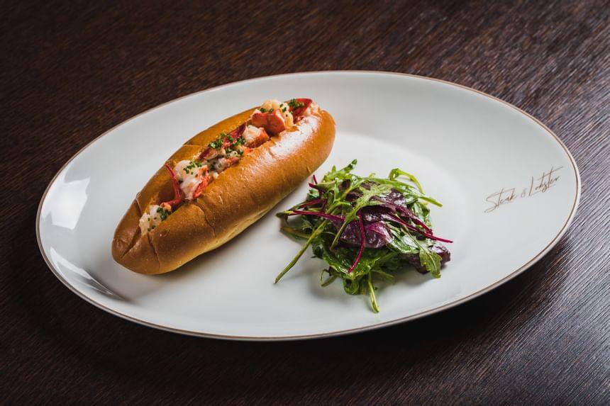 Close up on Montreal hot dog at Steak & Lobster Restaurants