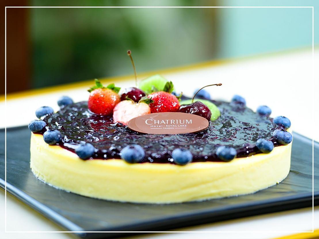 Blueberry desert in hotel royal lake at Chatrium Hotel