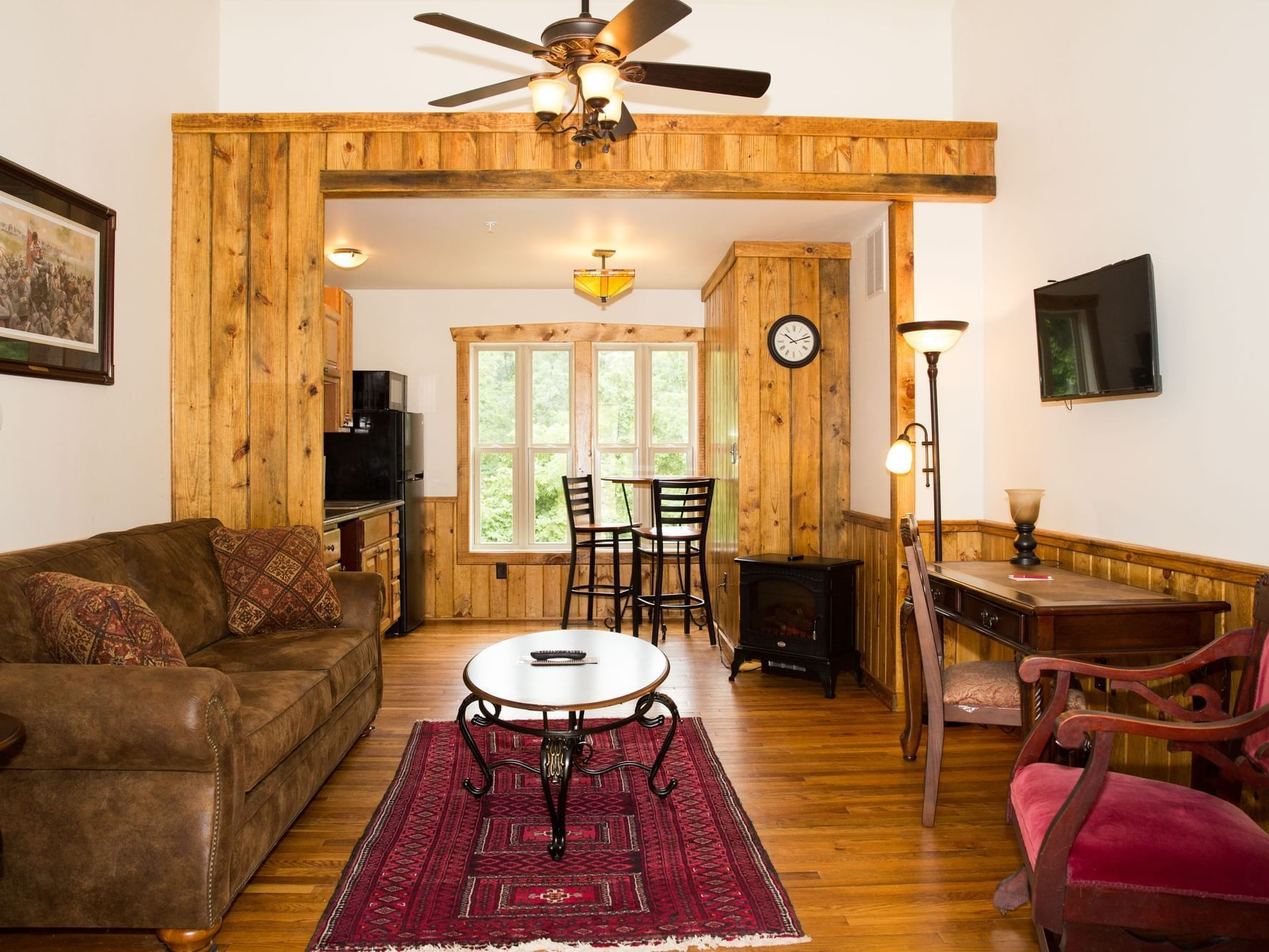 living room with wooden décor