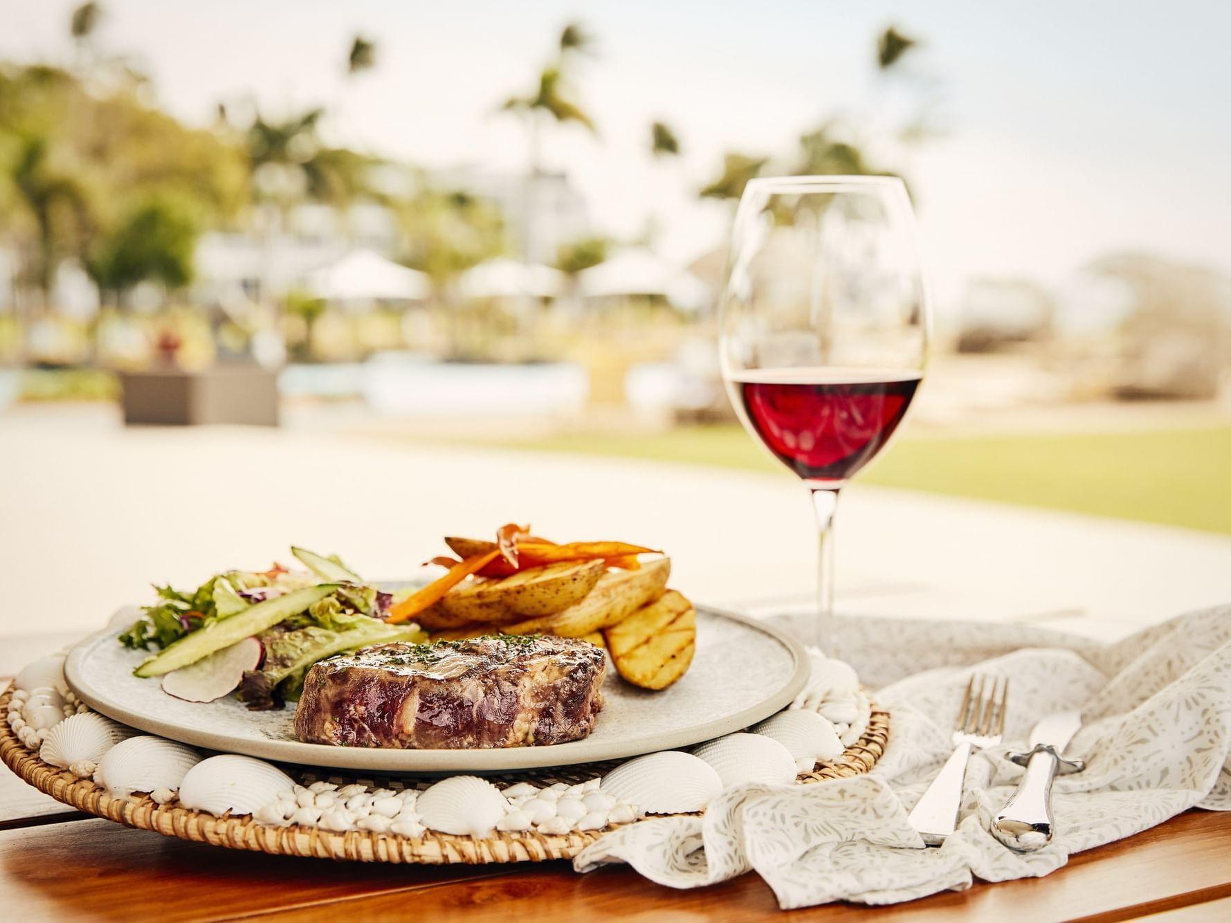 Steak served in Inkstone Kitchen at Daydream Island Resort