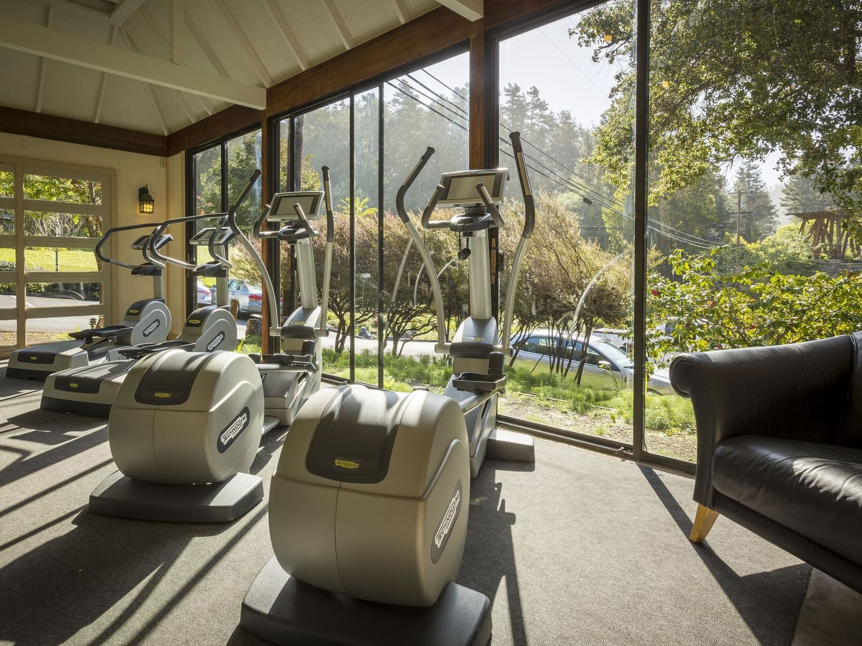 Fitness center filled with treadmills at Heritage House Resort