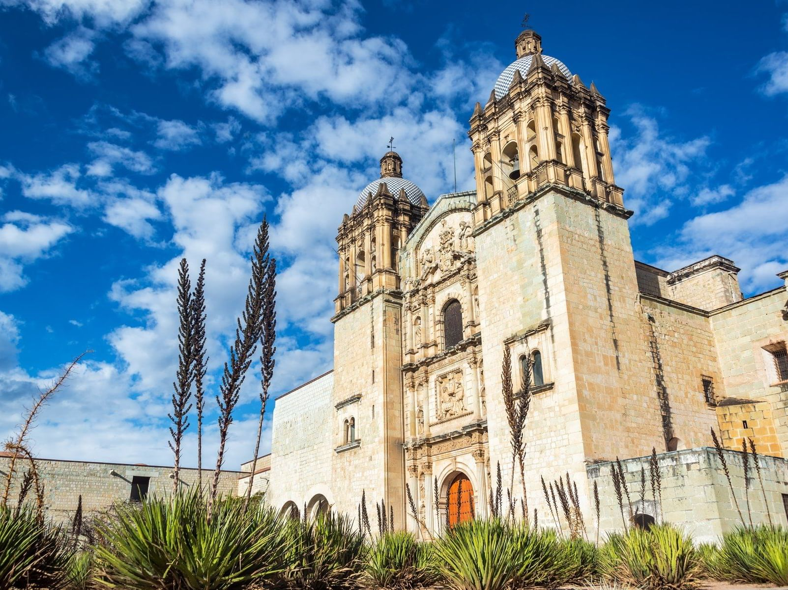 Ancient cathedral in Oaxaca city in Mexico