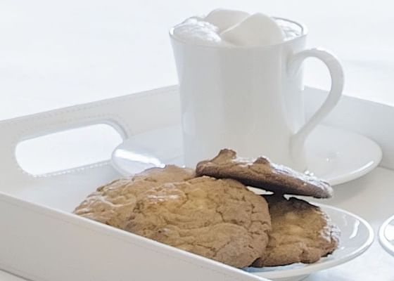 Cookies and milk served at Hotel Jackson