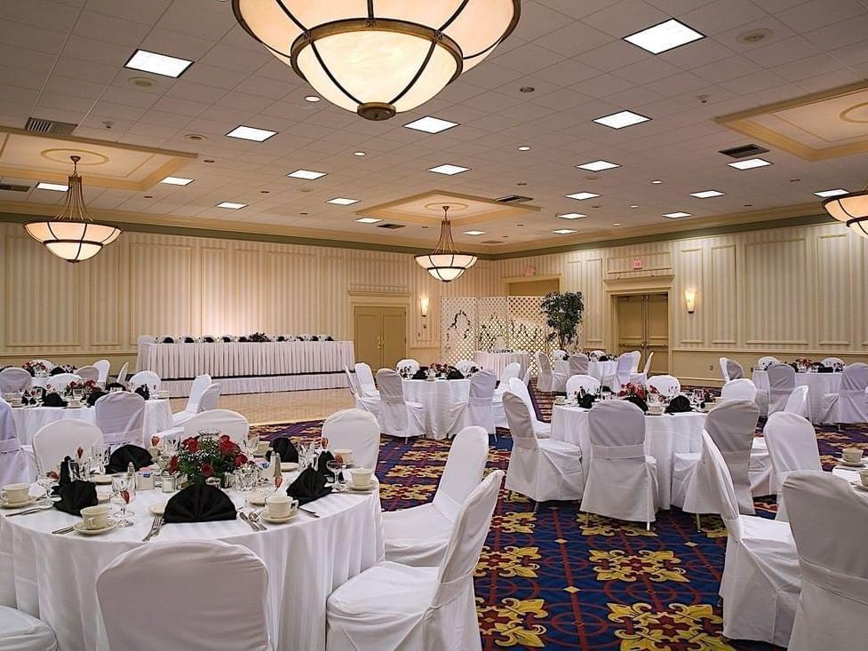 Wedding tables in ballroom