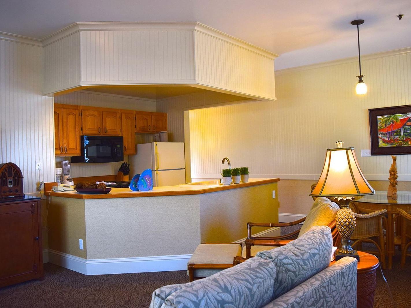 living room area in hotel suite