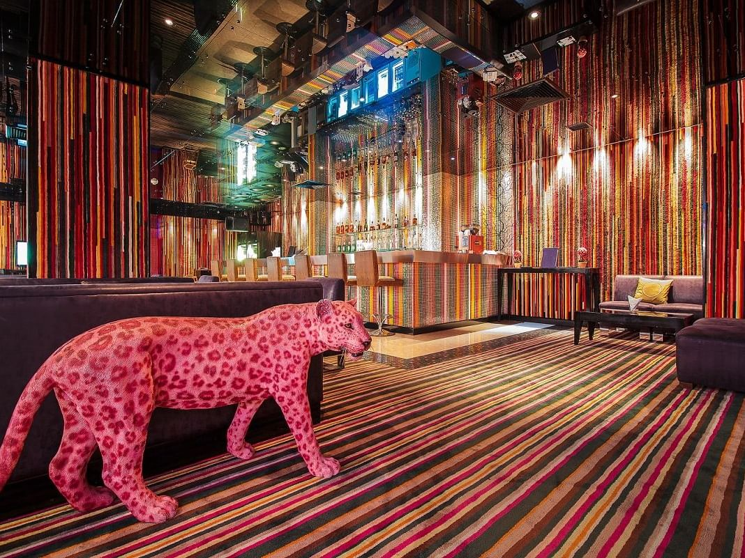 Tiger statue with Living room at Dream Hotel.