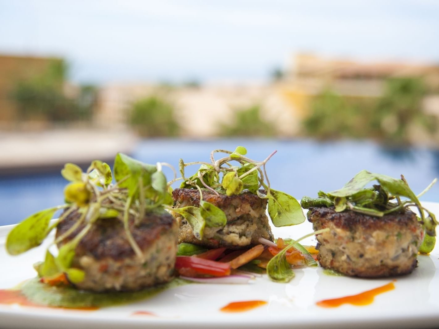 Food artfully plated in Tapas bar and fire pit at Grand Fiesta Americana Los Cabos All Inclusive Golf and Spa