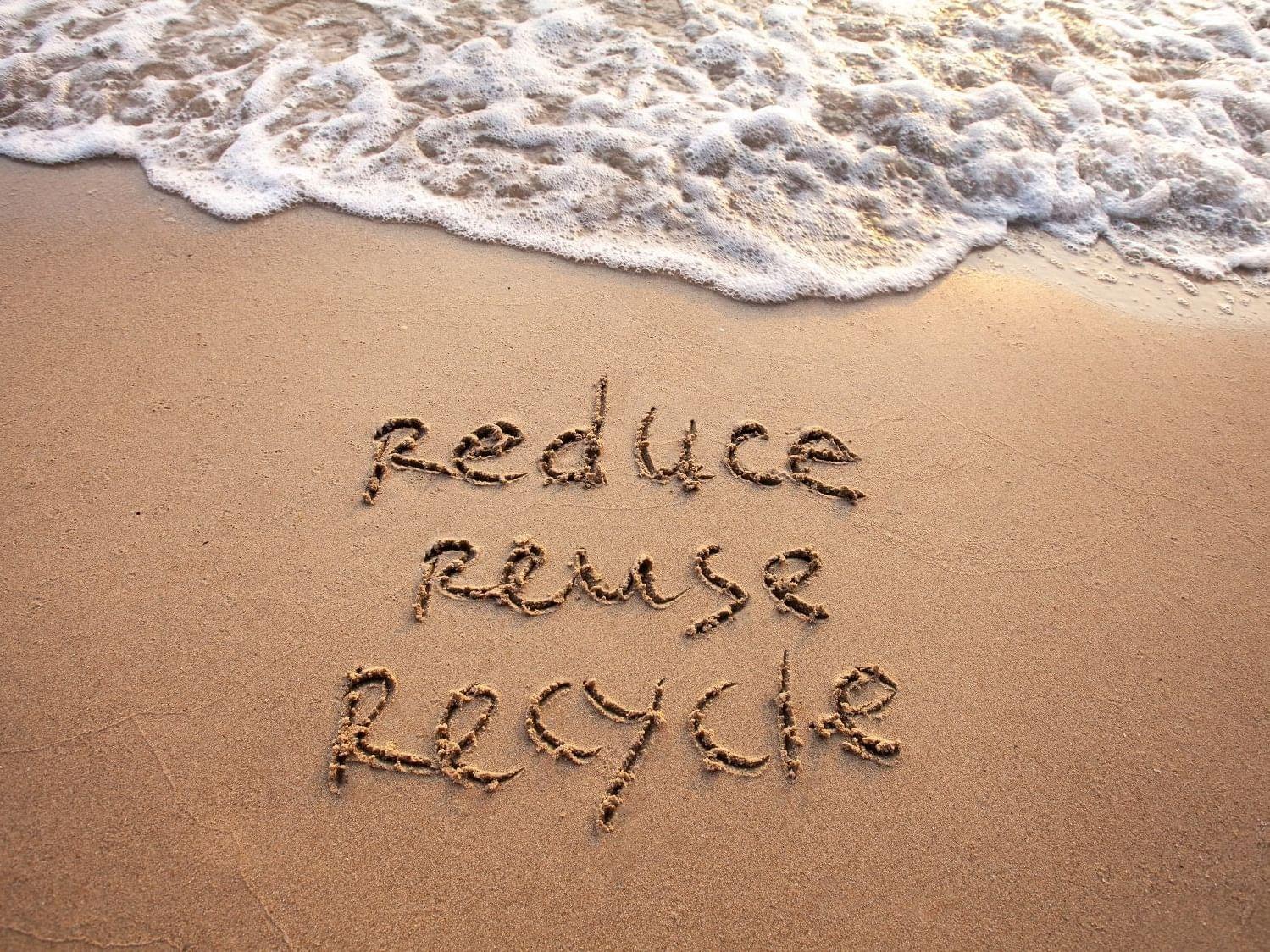 3R concept written on beach at Daydream Island Resort