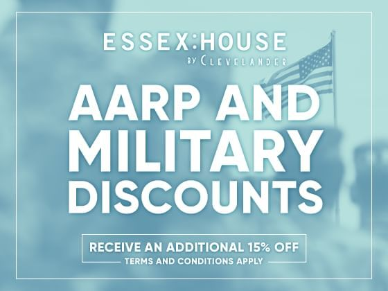 AARP & Military Members Discounts offer poster at Essex House by Clevelander