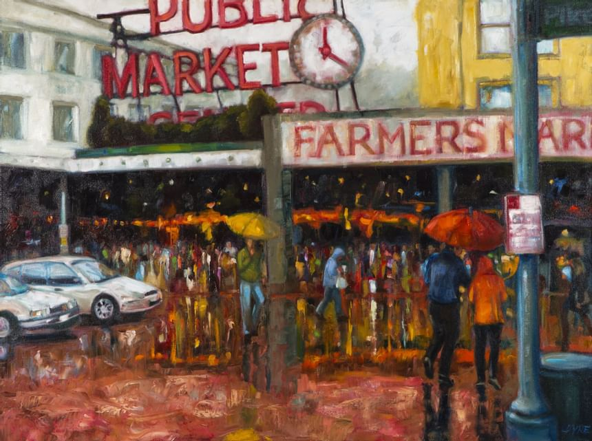 Crowds of peoples Art at the Paramount Hotel Seattle