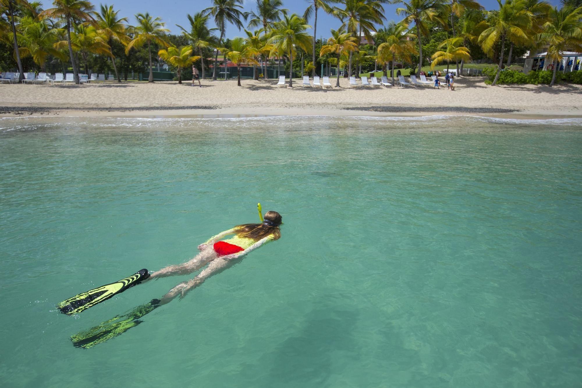 Woman snorkeling near the beach