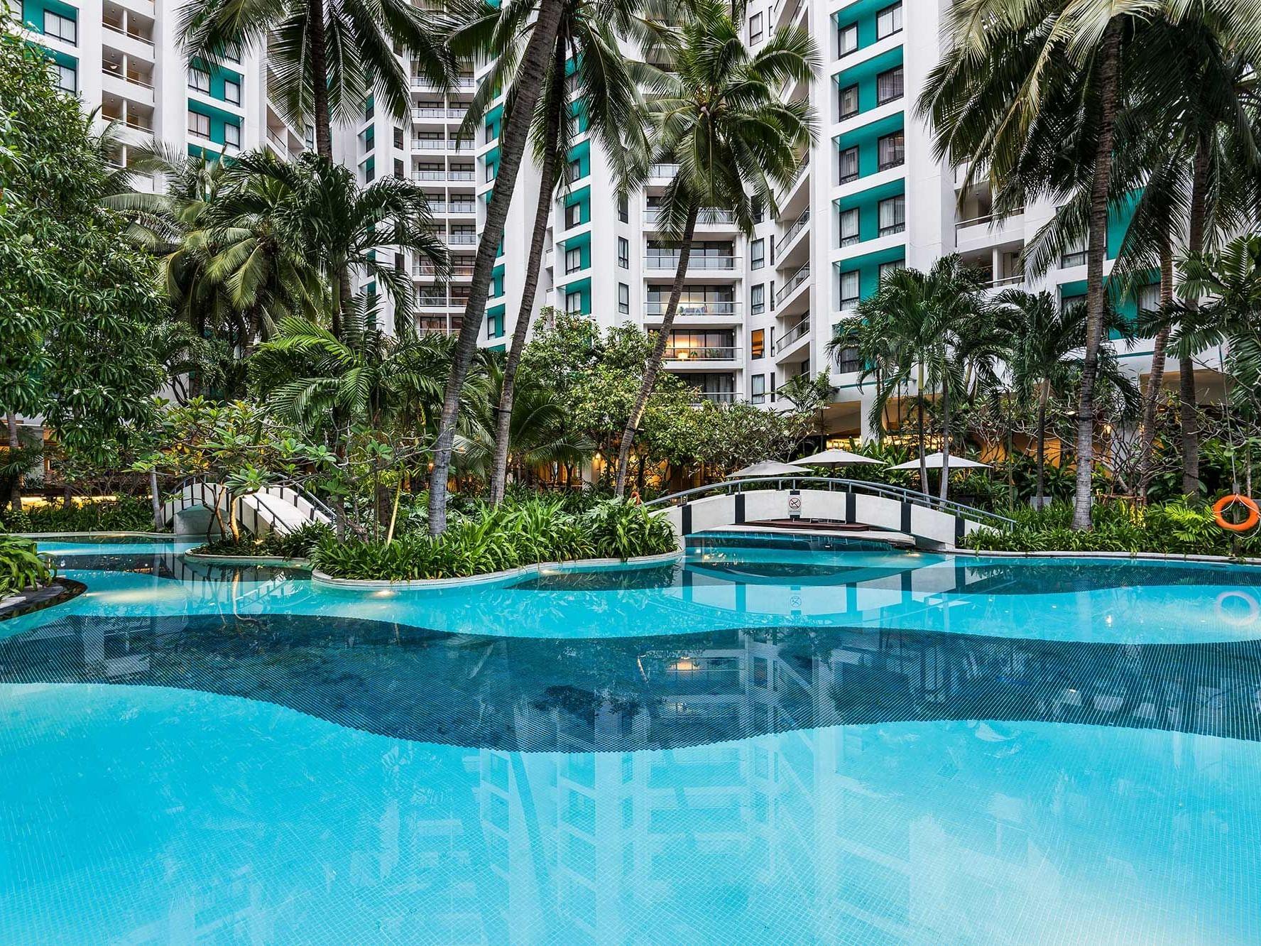 View of swimming pool at Chatrium Residence Sathon Bangkok