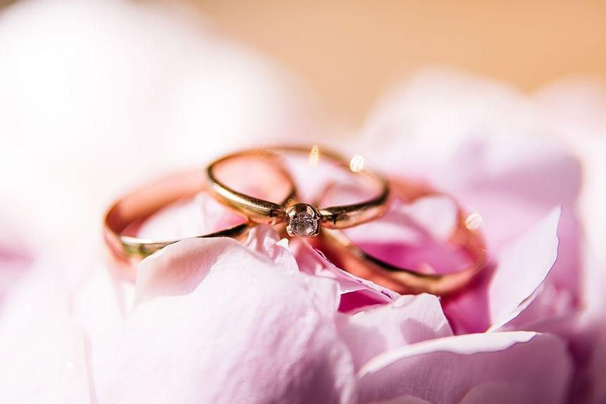 Closeup on wedding rings at Holiday Inn Montego Bay