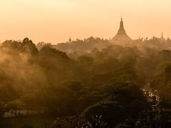 Aerial view of Shwedagon Pagoda near Chatrium Hotel Royal Lake Yangon