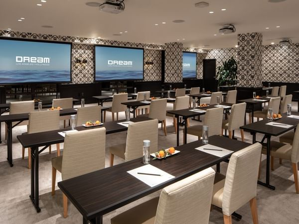 Rorschach BoardRoom with seats for 32 at Dream Hollywood LA