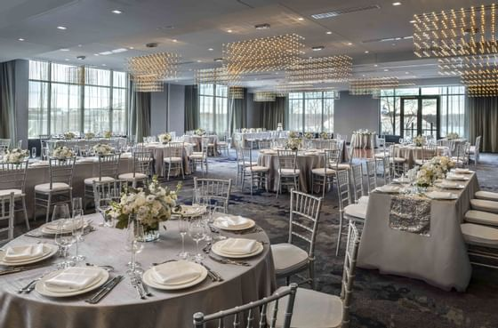 tables and chairs at wedding venue