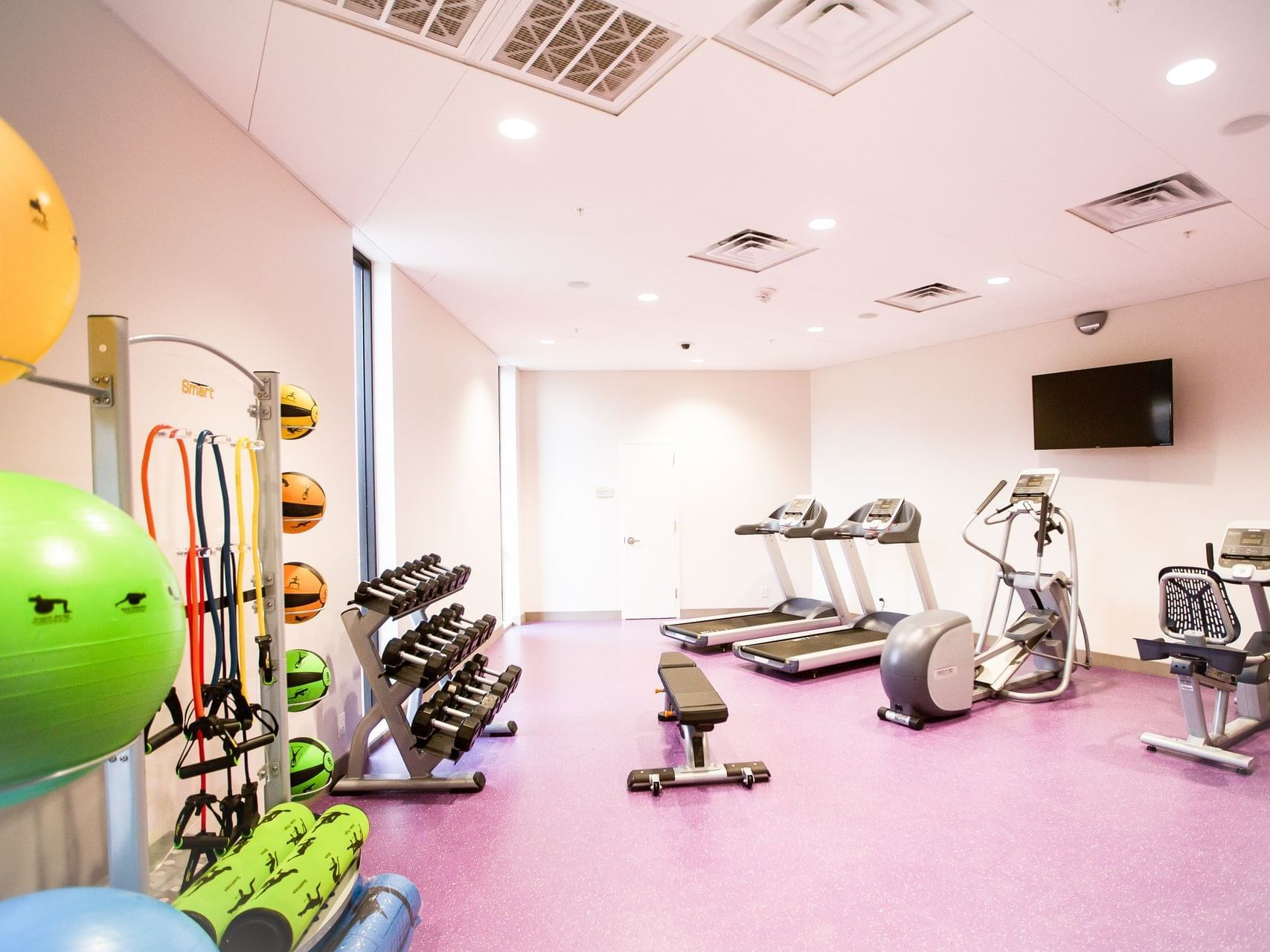 workout equipment in a hotel gym