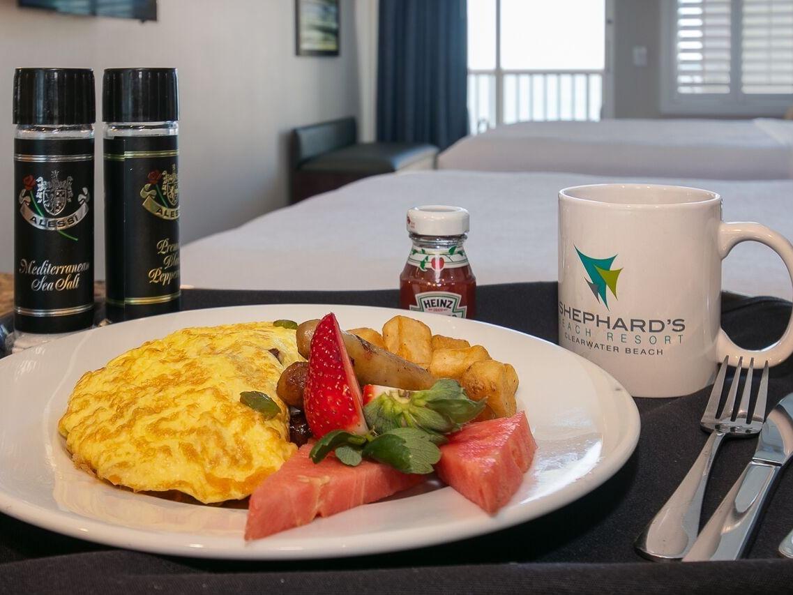 Breakfast dish at room service in Shephard's Beach Resort