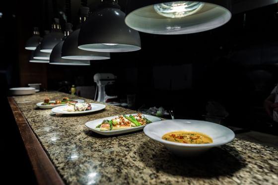 dinner plates on kitchen table