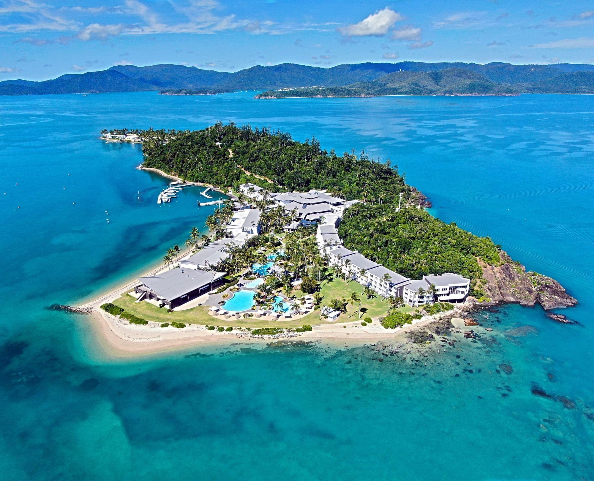 Aerial view of hotel island of Daydream Island Resort