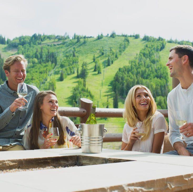Stein Eriksen Lodge Deck Après with Friends