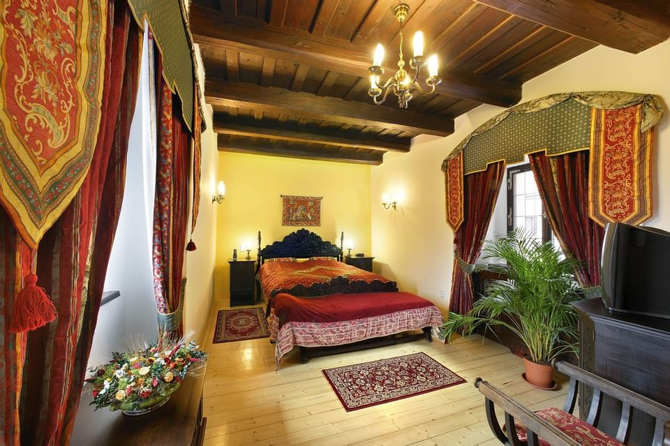 Deluxe Suite Bedroom at Hotel Ruze, Český Krumlov, Czech Republi