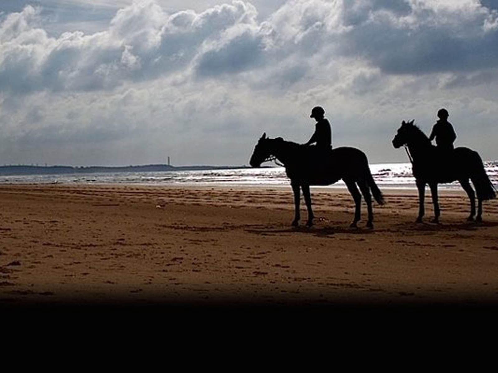 Dos hombres en dos caballos a la playa