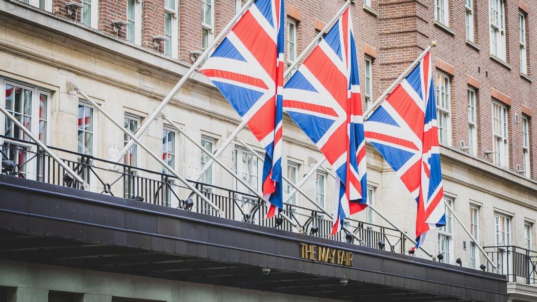 United Kingdom flags raised at The May Fair Hotel London