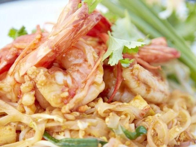 Seafood dish served in-room dining at Chatrium Hotel Riverside Bangkok