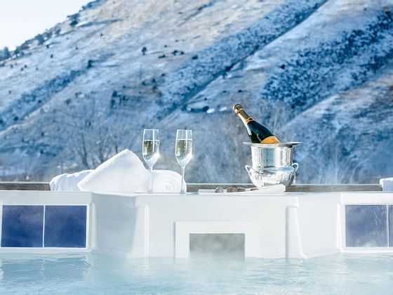 Champagne served by the rooftop spa at Hotel Jackson