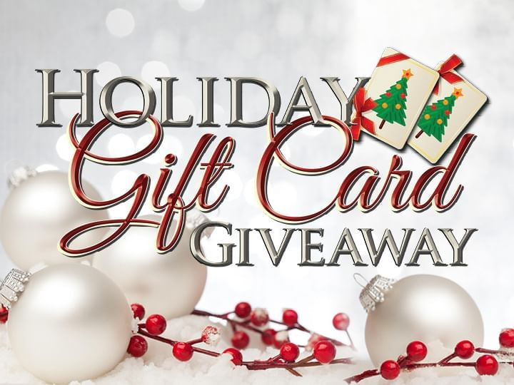 Holiday Gift Card Giveaway Promo Logo with white ornaments in background