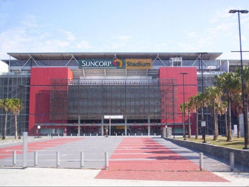 Suncorp Stadium with parking area near George Williams Hotel