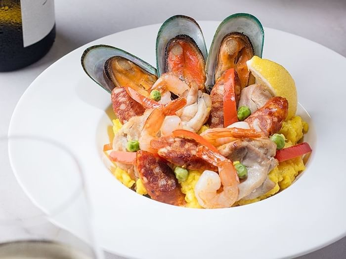Closeup of seafood dish in Okura At Home at Hotel Okura Manila