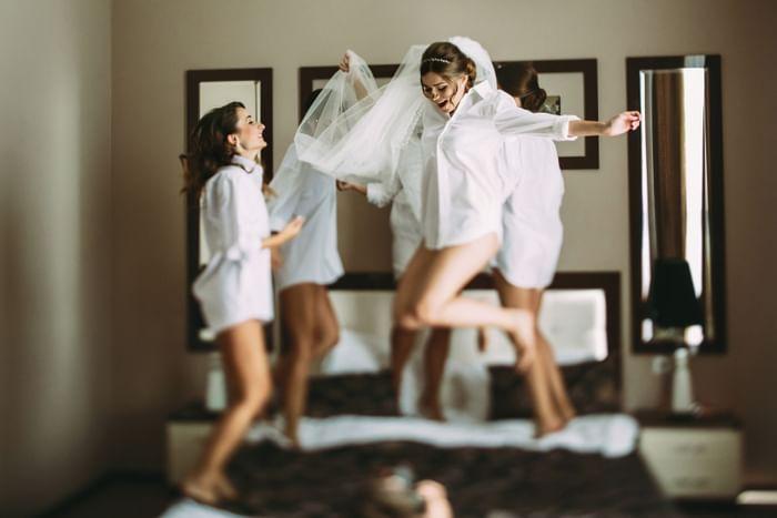 Bride and bridesmaids enjoying at Monte Carlo Inn Vaughan Suites