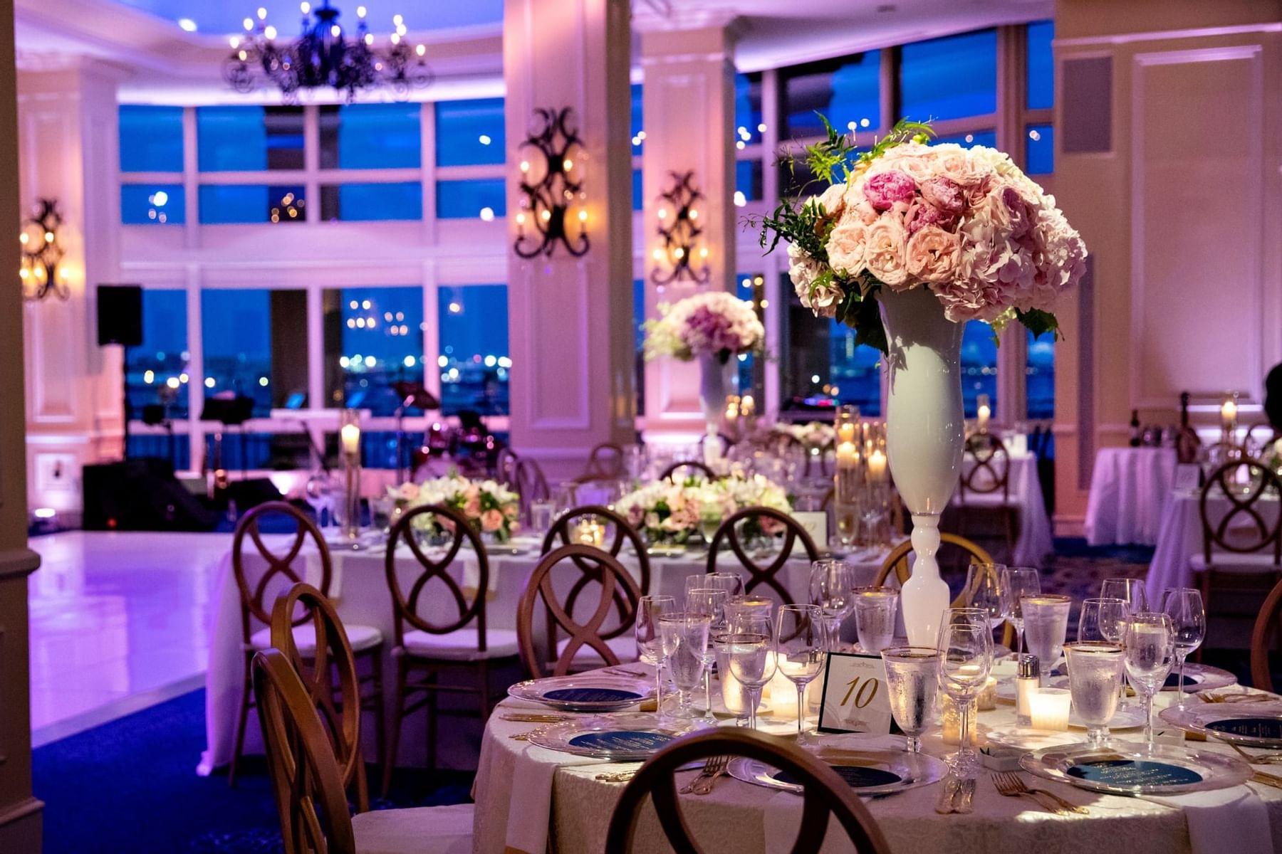 Conference room set up for wedding reception