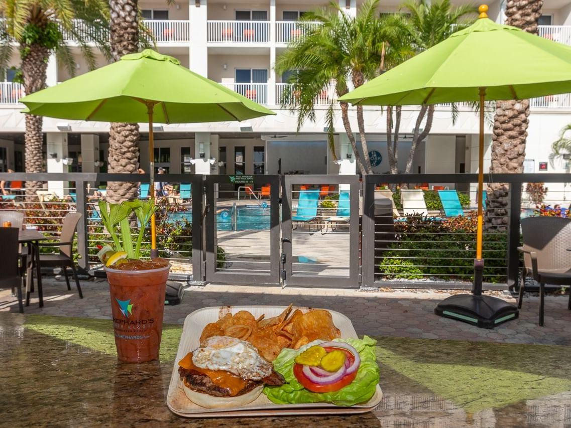 Burger at Tiki Beach Grill in Shephard's Beach Resort