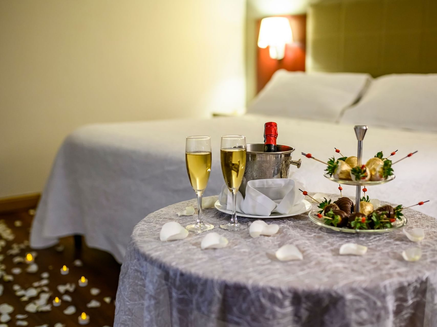 Guestroom decorated for wedding night at Bogotá Plaza Hotel