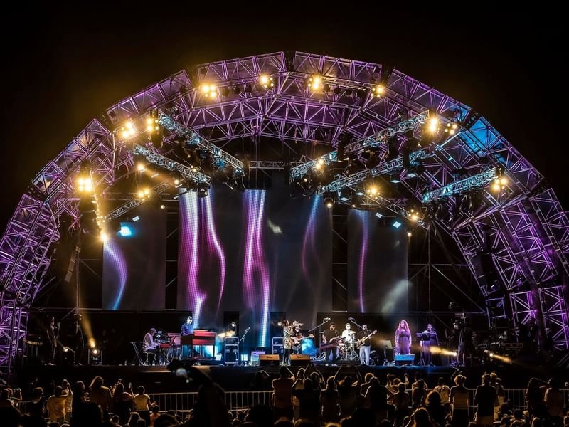 Stage with lights of Riviera maya jazz festival near The Reef Resorts