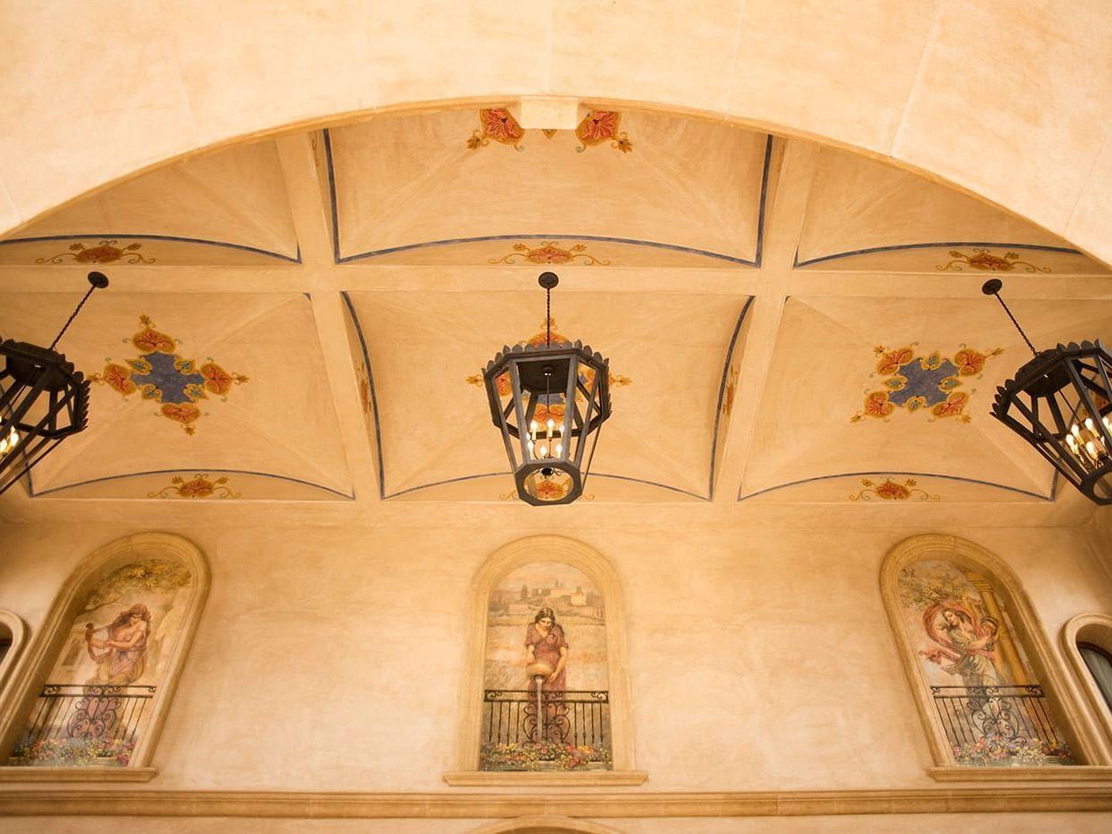 Allegretto Vineyard Resort lobby light fixtures and ceiling