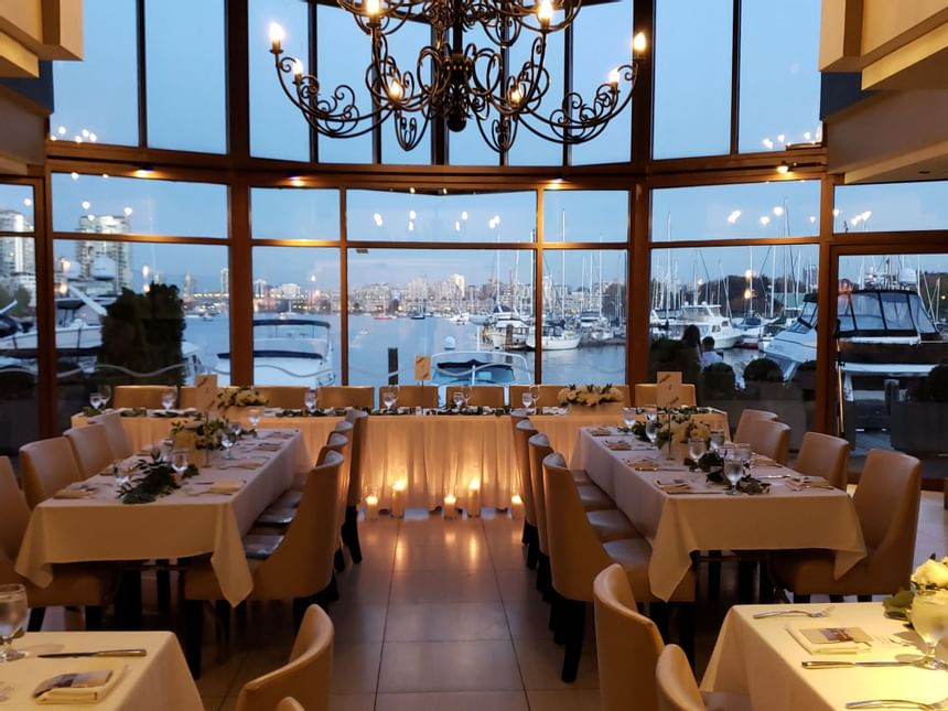 Restaurant set as a wedding reception at Granville Island Hotel